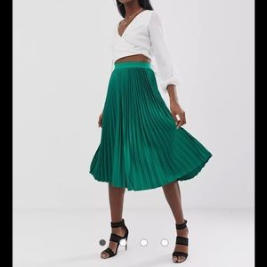 Outrageous Fortune Tall midi skater skirt in green